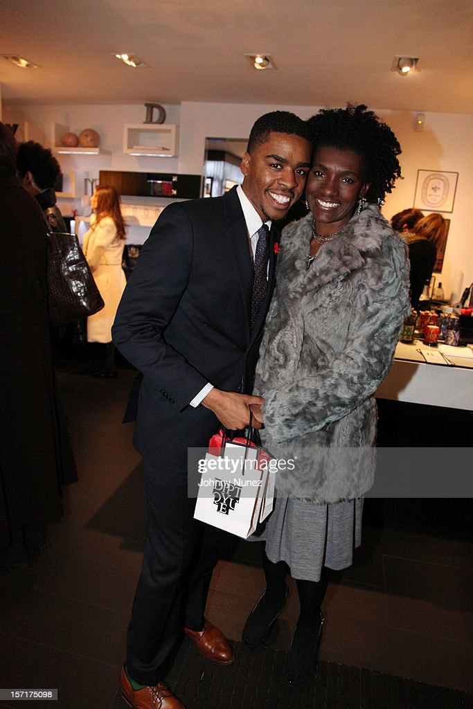 Isaiah Joyner and Editor-in-Chief of Essence Magazine Constance C.R. White attend the Reserv Concierge & Diptyque holiday shopping party at the Diptyque Store on November 29, 2012 in New York City.