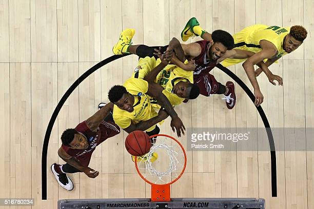 Isaiah Miles of the Saint Joseph's Hawks Jordan Bell of the Oregon Ducks Chris Boucher of the Oregon Ducks DeAndre Bembry of the Saint Joseph's Hawks...