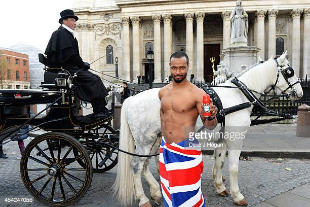 Isaiah Mustafa poses at the launch of The Old Spice Gentleman Hunt Campaign on December 6 2013 in London England