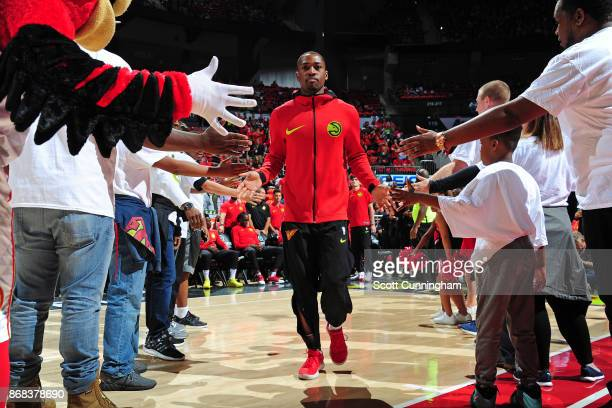 Isaiah Taylor of the Atlanta Hawks is introduced prior to the game against the Denver Nuggets on October 27 2017 at Philips Arena in Atlanta Georgia...
