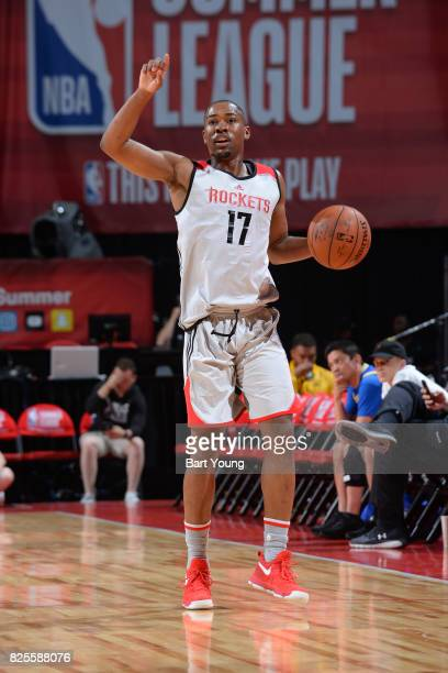 Isaiah Taylor of the Houston Rockets dribbles the ball during the 2017 Summer League game against the Denver Nuggets on July 12 2017 at the Thomas...