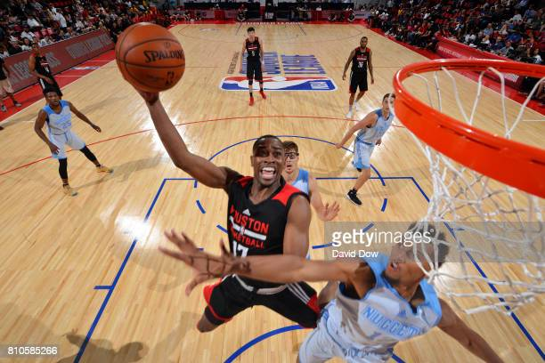 Isaiah Taylor of the Houston Rockets goes for a lay up during the game against the Denver Nuggets during the 2017 Las Vegas Summer League on July 7...