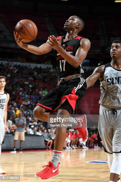 Isaiah Taylor of the Houston Rockets goes to the basket against the Phoenix Suns on July 10 2017 at the Thomas Mack Center in Las Vegas Nevada NOTE...