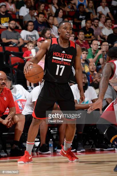 Isaiah Taylor of the Houston Rockets handles the ball against the Cleveland Cavaliers during the 2017 Las Vegas Summer League on July 8 2017 at the...