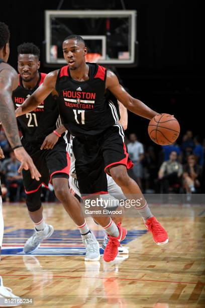 Isaiah Taylor of the Houston Rockets handles the ball against the Phoenix Suns on July 10 2017 at the Thomas Mack Center in Las Vegas Nevada NOTE TO...