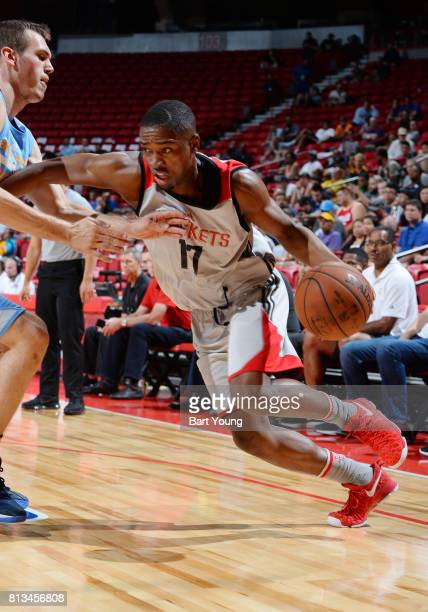 Isaiah Taylor of the Houston Rockets handles the ball against the Denver Nuggets during the 2017 Summer League on July 12 2017 at the Thomas Mack...