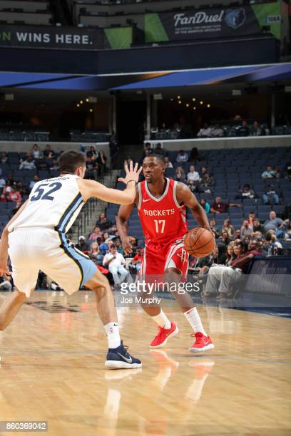 Isaiah Taylor of the Houston Rockets handles the ball during a preseason game against the Memphis Grizzlies on October 11 2017 at FedExForum in...
