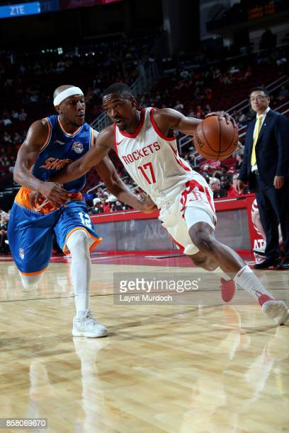 Isaiah Taylor of the Houston Rockets handles the ball during the preseason game against the Shanghai Sharks on October 5 2017 at the Toyota Center in...