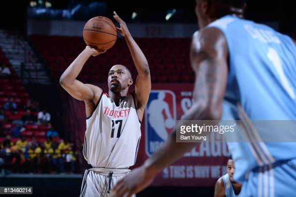 Isaiah Taylor of the Houston Rockets shoots a free throw against the Denver Nuggets during the 2017 Summer League on July 12 2017 at the Thomas Mack...
