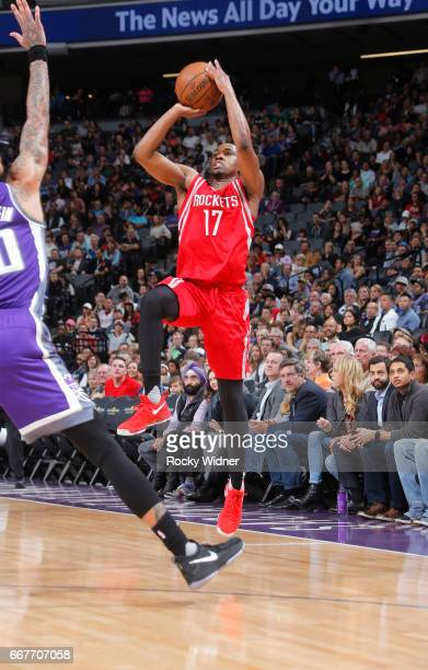 Isaiah Taylor of the Houston Rockets shoots against the Sacramento Kings on April 9 2017 at Golden 1 Center in Sacramento California NOTE TO USER...