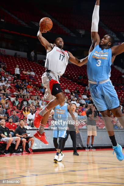 Isaiah Taylor of the Houston Rockets shoots the ball against Robert Carter Jr #3 of the Denver Nuggets during the 2017 Summer League on July 12 2017...