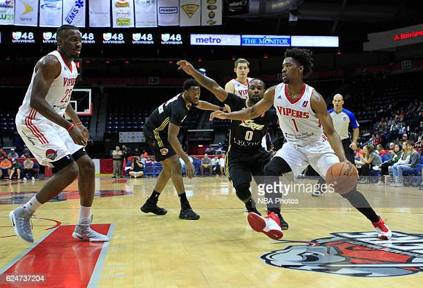 Isaiah Taylor of the Rio Grande Valley Vipers drives past Lewis Jackson of the Erie BayHawks at the State Farm Arena November 20 2016 in Hidalgo...