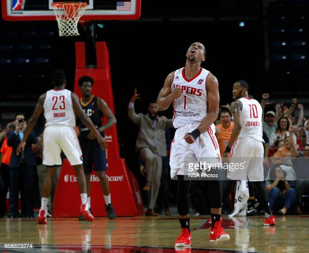 Isaiah Taylor of the Rio Grande Valley Vipers reacts to making the game winning shot in overtime against the Salt Lake City Stars at the State Farm...