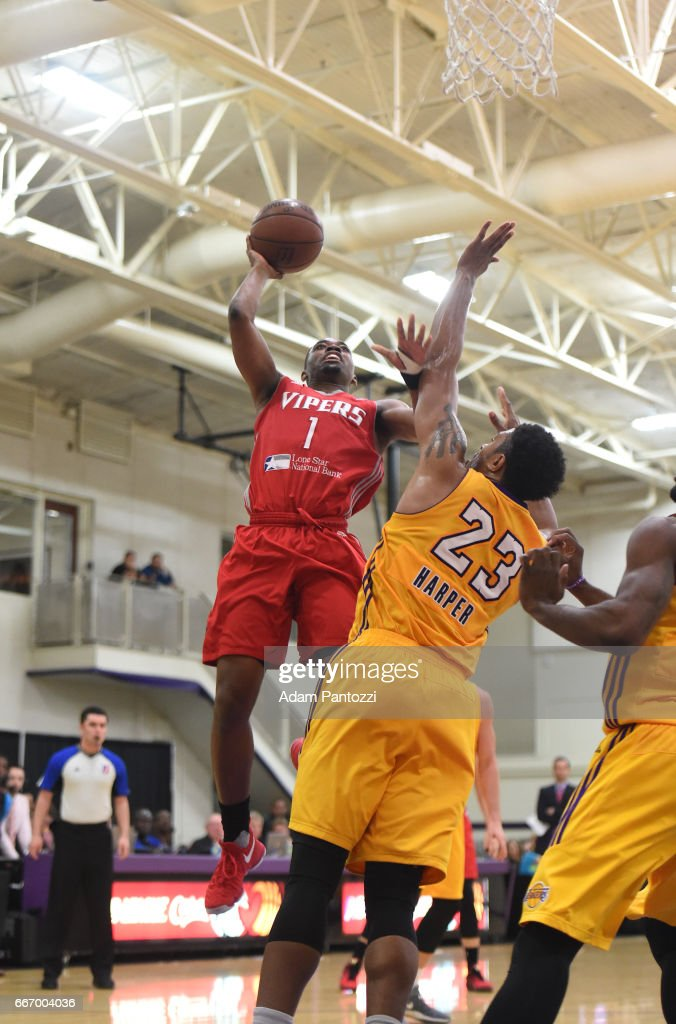 Isaiah Taylor #1 of the Rio Grande Valley Vipers shoots the ball against the Los Angeles D-Fenders during the first round of an NBA D-League playoff game at Toyota Sports Center on April 08, 2017 in El Segundo, California.
