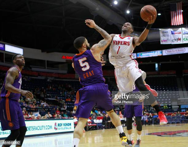 Isaiah Taylor of the Rio Grande Valley Vipers shoots the ball over Josh Gray of the Northern Arizona Suns at the State Farm Arena March 17 2017 in...