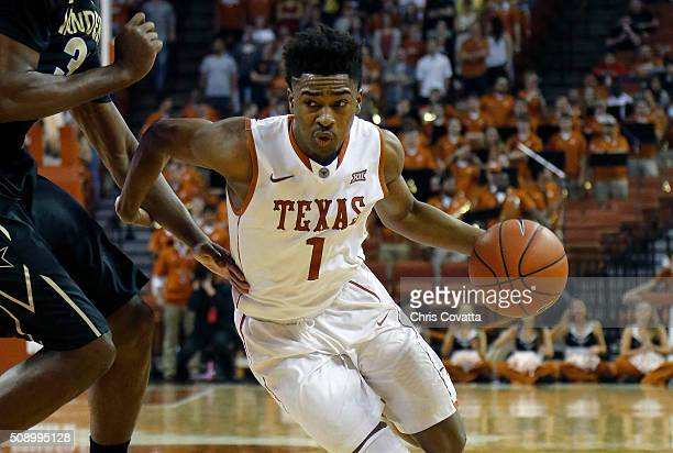 Isaiah Taylor of the Texas Longhorns drives with the ball against the Vanderbilt Commodores at the Frank Erwin Center on January 30 2016 in Austin...