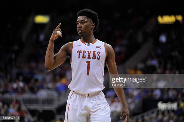 Isaiah Taylor of the Texas Longhorns in action against the Baylor Bears in the first half during the quarterfinals of the Big 12 Basketball...
