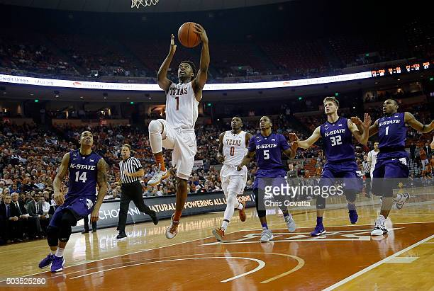 Isaiah Taylor of the Texas Longhorns leaps to the basket against the Kansas State Wildcats at the Frank Erwin Center on January 5 2016 in Austin Texas