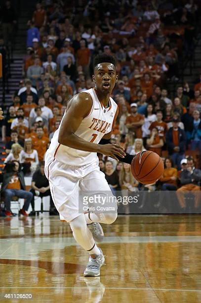 Isaiah Taylor of the Texas Longhorns moves with the ball against the Oklahoma Sooners at the Frank Erwin Center on January 5 2015 in Austin Texas