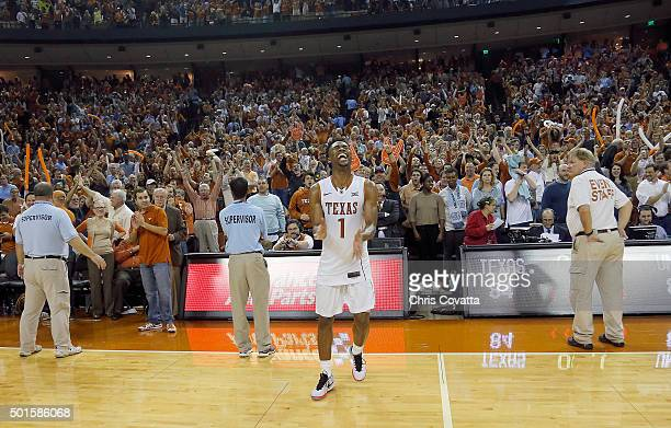 Isaiah Taylor of the Texas Longhorns reacts after his team defeats the North Carolina Tar Heels at the Frank Erwin Center on December 12 2015 in...