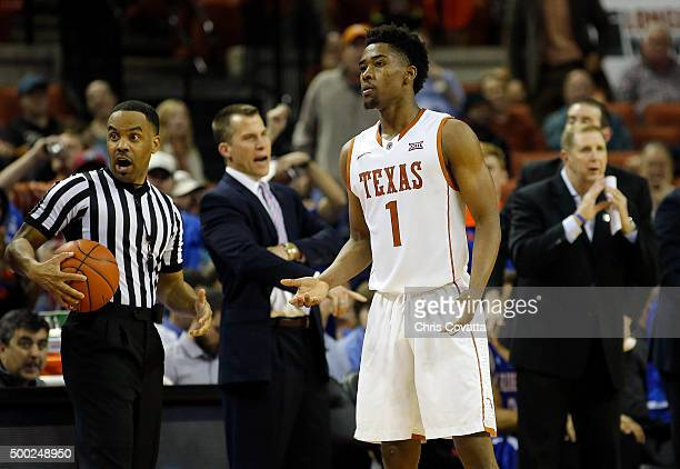 Isaiah Taylor of the Texas Longhorns reacts as his team plays the TexasArlington Mavericks at the Frank Erwin Center on December 1 2015 in Austin...