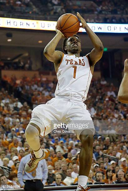 Isaiah Taylor of the Texas Longhorns shoots the ball against the Kansas Jayhawks at the Frank Erwin Center on February 29 2016 in Austin Texas