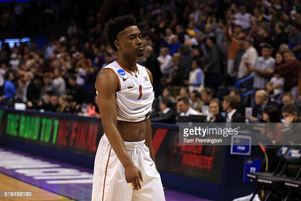 Isaiah Taylor of the Texas Longhorns walks off the court after Paul Jesperson of the Northern Iowa Panthers hit a half court three pointer at the...