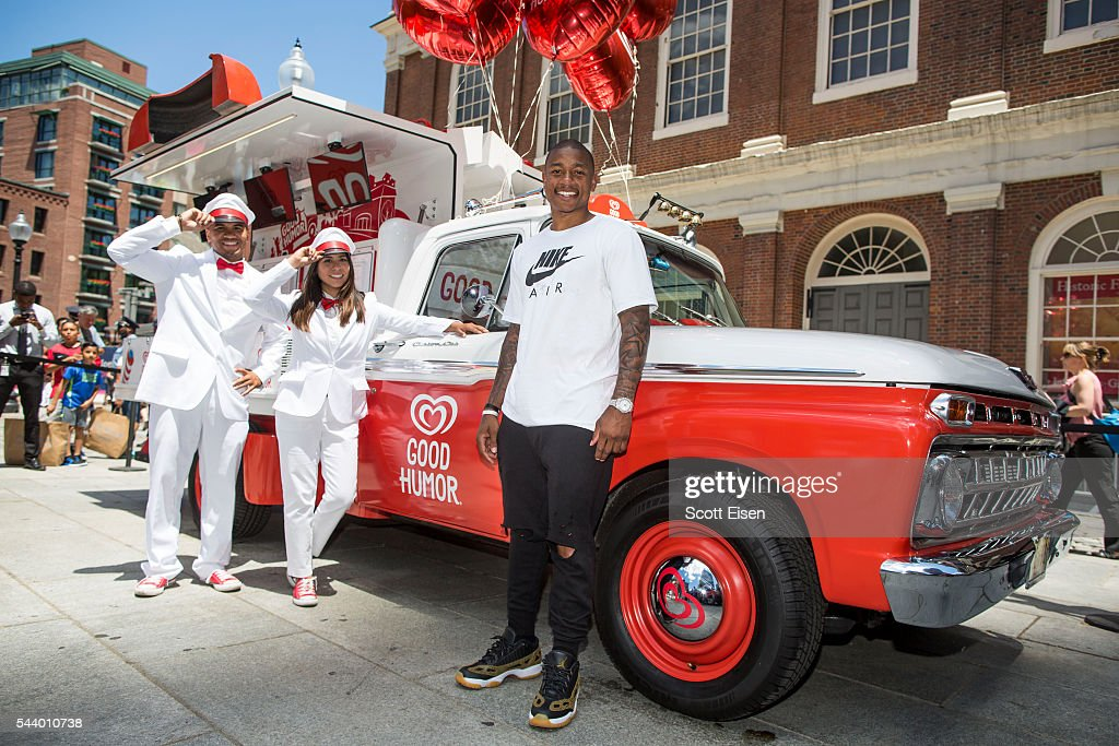 Isaiah Thomas and the Good Humor Man and Good Humor Woman hand out free ice cream to fans at the Boston launch of the Good Humor Welcome to Joyhood campaign at Sam Adams Statue Fanueil Hall in Boston on June 30, 2016.