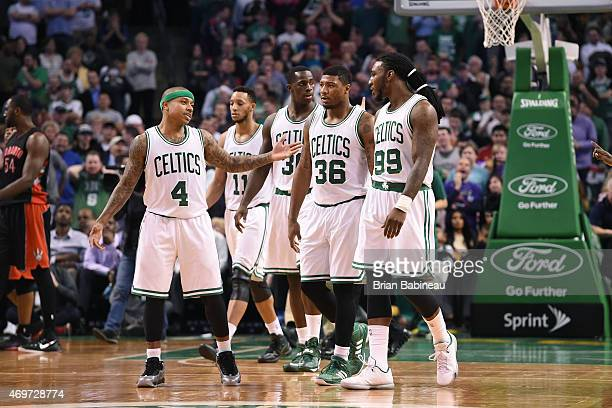Isaiah Thomas Evan Turner Brandon Bass Marcus Smart and Jae Crowder of the Boston Celtics during the game against the Toronto Raptors on April 14...