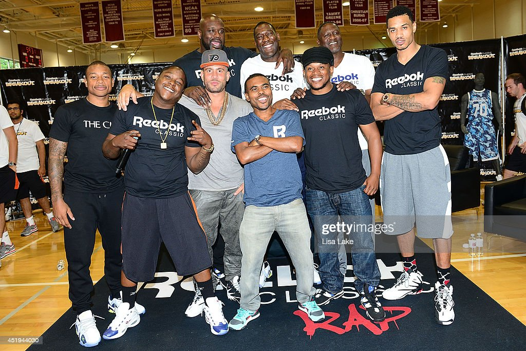 Isaiah Thomas, Jadakiss, Shaquille O'Neal, DJ Drama, Shawn Kemp, Dominique Wilkins, Lil Duval, Sway Calloway and Gerald Green attend the Reebok Classic Breakout Classic Rap Roundtable at Philadelphia University on July 9, 2014 in Philadelphia, Pennsylvania.