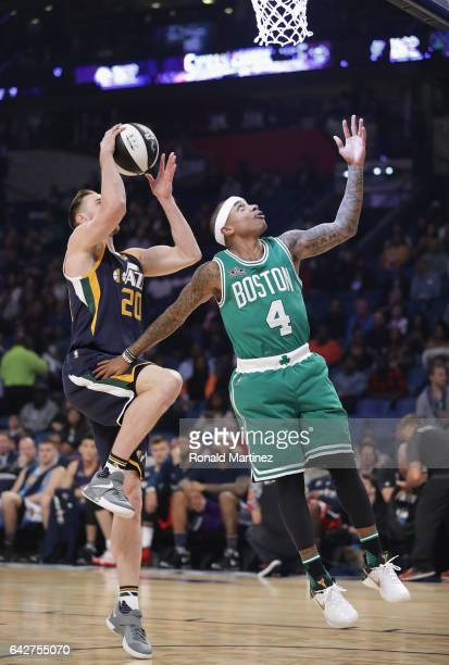 Isaiah Thomas of the Boston Celtics and Gordon Hayward of the Utah Jazz compete in the 2017 Taco Bell Skills Challenge at Smoothie King Center on...