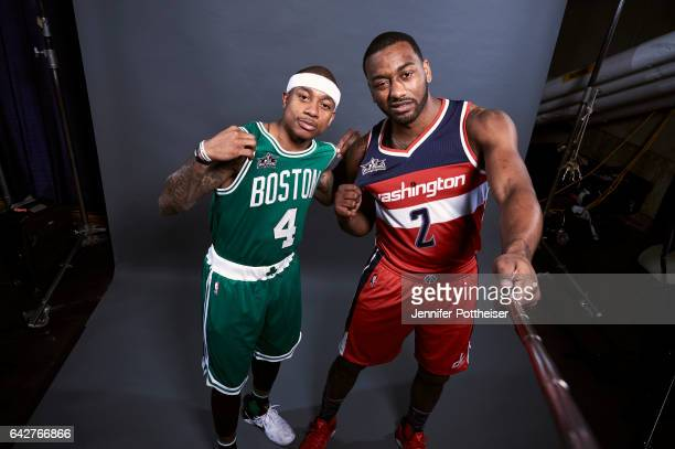 Isaiah Thomas of the Boston Celtics and John Wall of the Washington Wizards poses for a portrait during State Farm AllStar Saturday Night as part of...