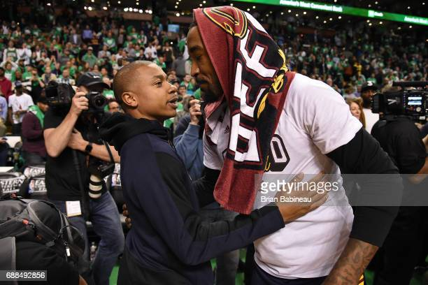 Isaiah Thomas of the Boston Celtics and JR Smith of the Cleveland Cavaliers are seen after the game in Game Five of the Eastern Conference Finals of...