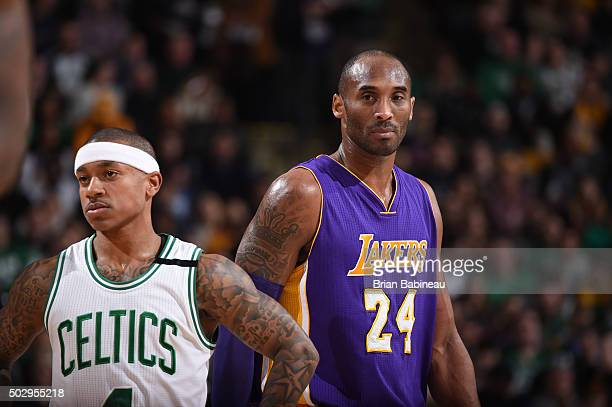 Isaiah Thomas of the Boston Celtics and Kobe Bryant of the Los Angeles Lakers are seen during the game on December 30 2015 at the TD Garden in Boston...