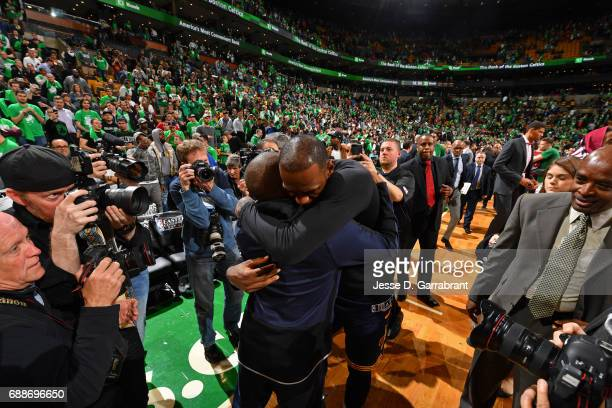 Isaiah Thomas of the Boston Celtics and LeBron James of the Cleveland Cavaliers hug after Game Five of the Eastern Conference Finals during the 2017...