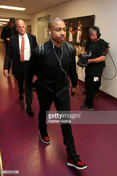 Isaiah Thomas of the Boston Celtics arrives to the arena before the game against the Washington Wizards during Game Six of the Eastern Conference...