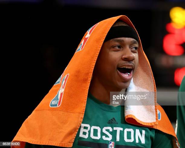 Isaiah Thomas of the Boston Celtics celebates a teammate's shot in the second half against the New York Knicks at Madison Square Garden on April 2...