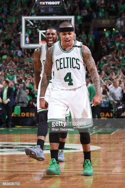 Isaiah Thomas of the Boston Celtics celebrates after scoring against the Washington Wizards during Game Seven of the Eastern Conference Semifinals of...