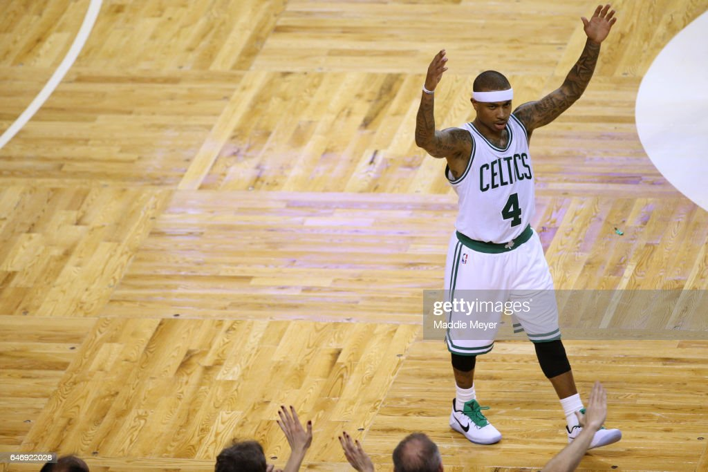 Isaiah Thomas #4 of the Boston Celtics celebrates during the fourth quarter against the Cleveland Cavaliers at TD Garden on March 1, 2017 in Boston, Massachusetts. The Celtics defeat the Cavaliers 103-99.