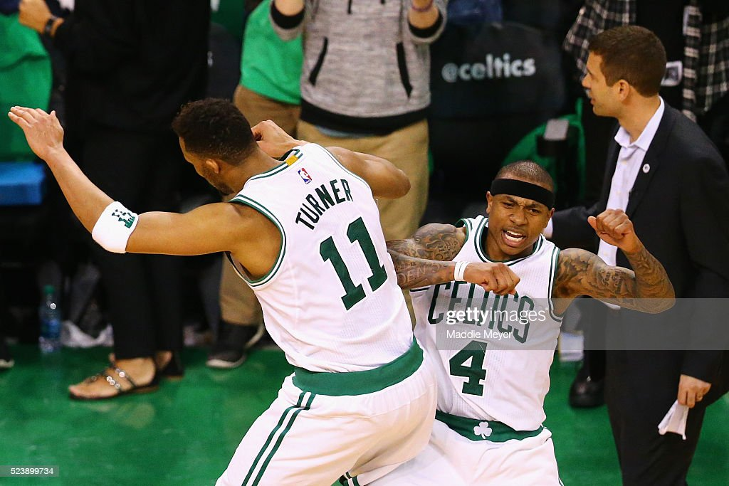 <a gi-track='captionPersonalityLinkClicked' href=/galleries/search?phrase=Isaiah+Thomas+-+Basketball+Player+-+Born+1989&family=editorial&specificpeople=13827915 ng-click='$event.stopPropagation()'>Isaiah Thomas</a> #4 of the Boston Celtics celebrates with <a gi-track='captionPersonalityLinkClicked' href=/galleries/search?phrase=Evan+Turner&family=editorial&specificpeople=4665764 ng-click='$event.stopPropagation()'>Evan Turner</a> #11 after hitting a three pointer during overtime of Game Four of the Eastern Conference Quarterfinals against the Atlanta Hawks during the 2016 NBA Playoffs at TD Garden on April 24, 2016 in Boston, Massachusetts. The Celtics defeated the Hawks 104-95. NOTE TO USER User expressly acknowledges and agrees that, by downloading and or using this photograph, user is consenting to the terms and conditions of the Getty Images License Agreement.