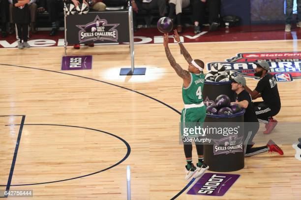 Isaiah Thomas of the Boston Celtics competes in the Taco Bell Skills Challenge during State Farm AllStar Saturday Night as part of the 2017 NBA...