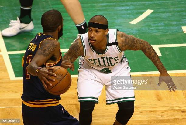 Isaiah Thomas of the Boston Celtics defends Kyrie Irving of the Cleveland Cavaliers in the first half during Game One of the 2017 NBA Eastern...