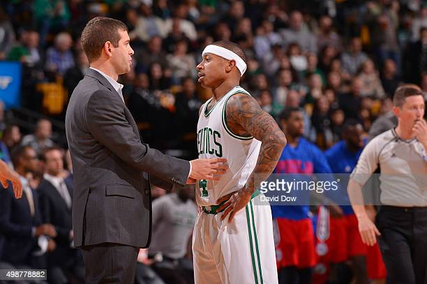 Isaiah Thomas of the Boston Celtics discusses with Brad Stevens of the Boston Celtics during the game against the Philadelphia 76ers on November 25...