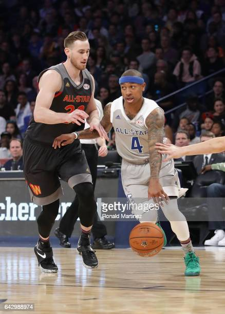 Isaiah Thomas of the Boston Celtics dribbles the ball against Gordon Hayward of the Utah Jazz in the first half of the 2017 NBA AllStar Game at...