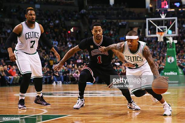 Isaiah Thomas of the Boston Celtics drives against Derrick Rose of the Chicago Bulls during the second quarter at TD Garden on January 22 2016 in...