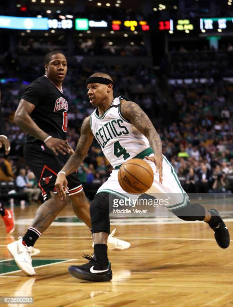 Isaiah Thomas of the Boston Celtics drives against Isaiah Canaan of the Chicago Bulls during the third quarter of Game Five of the Eastern Conference...