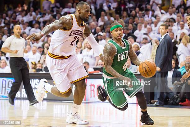 Isaiah Thomas of the Boston Celtics drives around LeBron James of the Cleveland Cavaliers in the second half in Game Two of the Eastern Conference...
