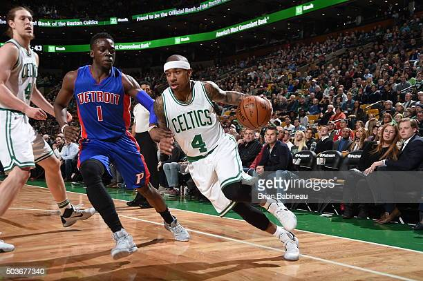 Isaiah Thomas of the Boston Celtics drives to the basket against Reggie Jackson of the Detroit Pistons during the game on January 6 2016 at TD Garden...