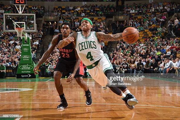 Isaiah Thomas of the Boston Celtics drives to the basket against the Toronto Raptors during the game on April 14 2015 at the TD Garden in Boston...
