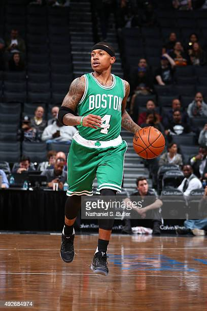 Isaiah Thomas of the Boston Celtics drives to the basket against the Brooklyn Nets during the preseason game on October 14 2015 at Barclays Center in...